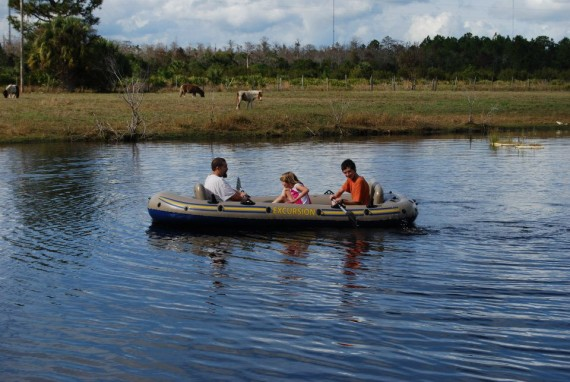 Boating on the front pond
