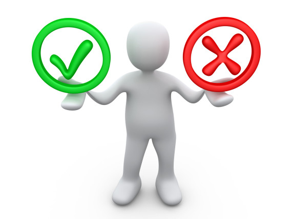 Royalty-free 3d computer generated business clipart picture of a white person holding his arms out with a green check mark and a red x in his hands, symbolizing approval and denial.