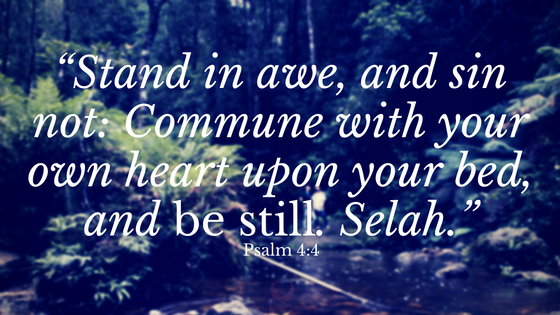Stand in awe and sin not, commune with your own heart upon your bed and be still.